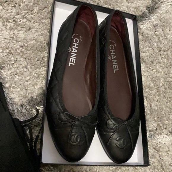 Chanel classic ballet flats - calfskin leather 38